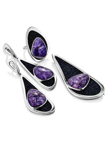 Fabulous Silver Cocktail Ring With Charoite And Denim, Ring Size: 8.5 / 18.5, image , picture 5