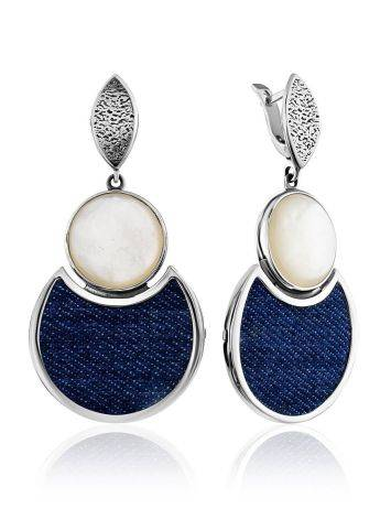Fabulous Silver Dangle Earrings With Denim And Nacre, image