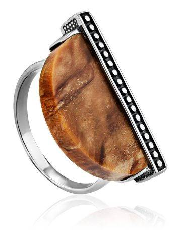 Ethnic Style Silver Wooden Ring, Ring Size: 8.5 / 18.5, image