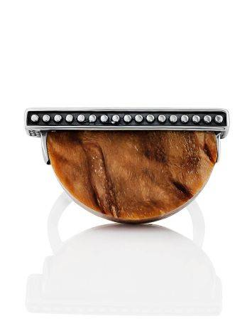 Ethnic Style Silver Wooden Ring, Ring Size: 8.5 / 18.5, image , picture 4