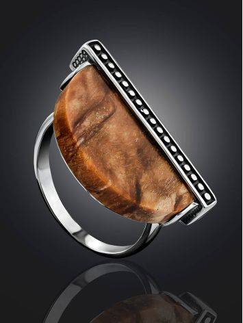 Ethnic Style Silver Wooden Ring, Ring Size: 8.5 / 18.5, image , picture 2