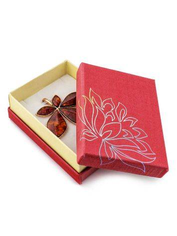 Floral Print Red Cardboard Gift Box, image , picture 2