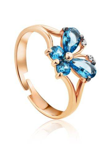 Butterfly Motif Gold Crystal Ring, Ring Size: 4 / 15, image