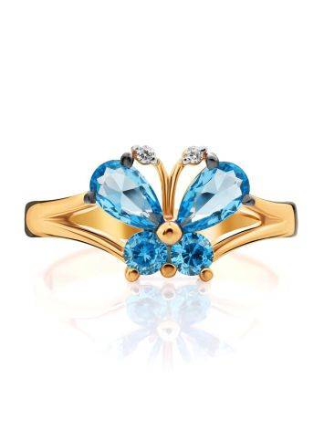 Butterfly Motif Gold Crystal Ring, Ring Size: 4 / 15, image , picture 3