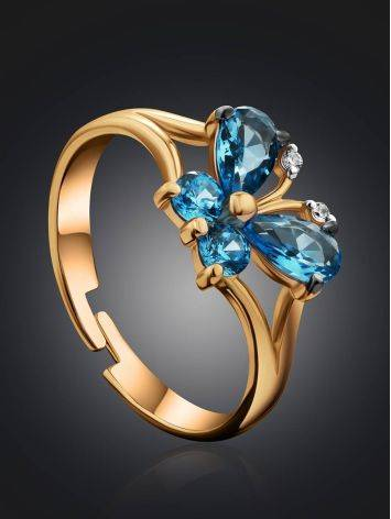 Butterfly Motif Gold Crystal Ring, Ring Size: 4 / 15, image , picture 2