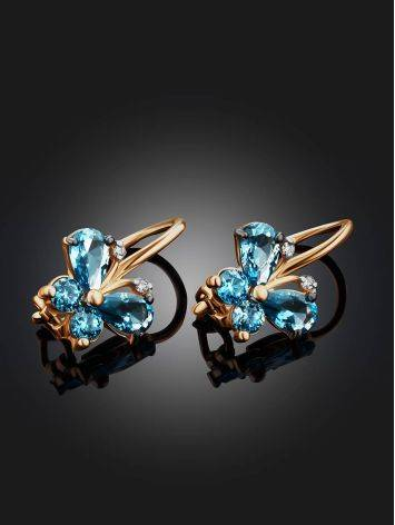 Butterfly Motif Golden Earrings With Blue Crystals, image , picture 2