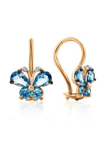 Butterfly Motif Golden Earrings With Blue Crystals, image