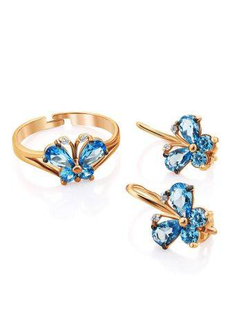 Butterfly Motif Golden Earrings With Blue Crystals, image , picture 3