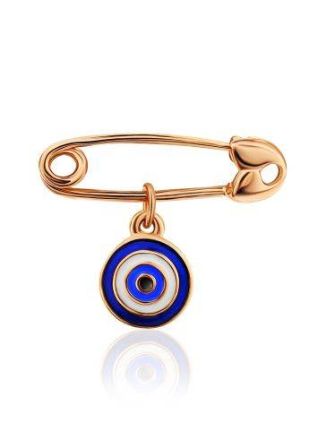Symbolic Golden Pin With Enamel Evil Eye Dangle, image