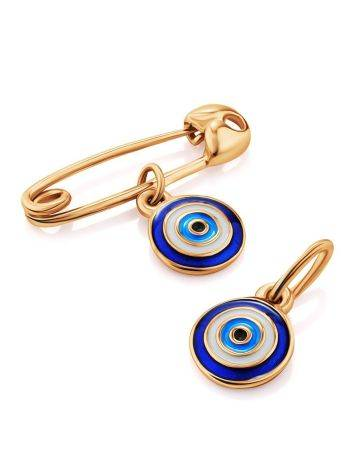 Symbolic Golden Pin With Enamel Evil Eye Dangle, image , picture 3