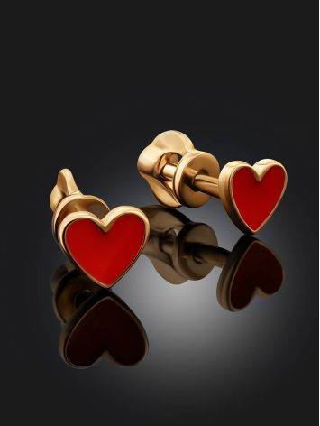Cute Gold Enamel Heart Shaped Studs, image , picture 2