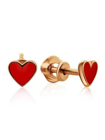 Cute Gold Enamel Heart Shaped Studs, image