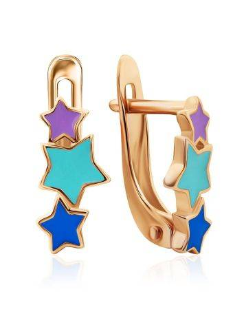 Starburst Design Gold Enamel Earrings, image