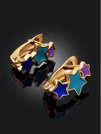 Starburst Design Gold Enamel Earrings, image , picture 2