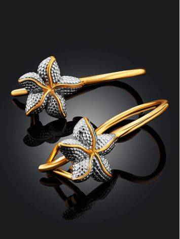 Starfish Design Golden Earrings, image , picture 2