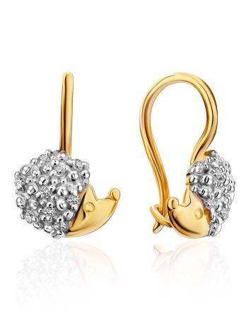 Cute Gold Hedgehog Earrings, image