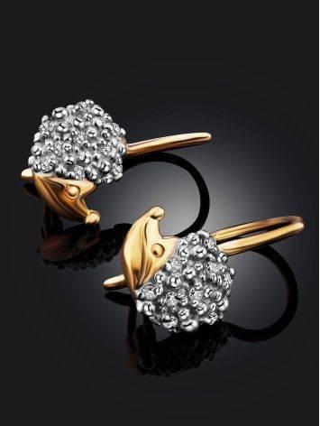 Cute Gold Hedgehog Earrings, image , picture 2