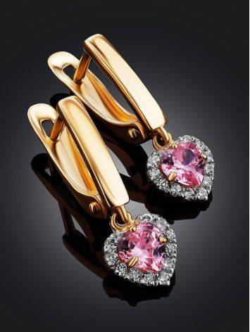 Lovely Golden Dangles With Pink And white Crystals, image , picture 2