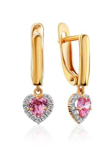 Lovely Golden Dangles With Pink And white Crystals, image