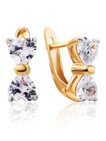 Gold Crystal Bow Shaped Earrings, image