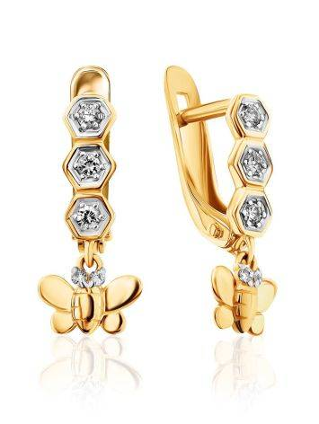 Adorable Golden Butterfly Dangles With Crystals, image