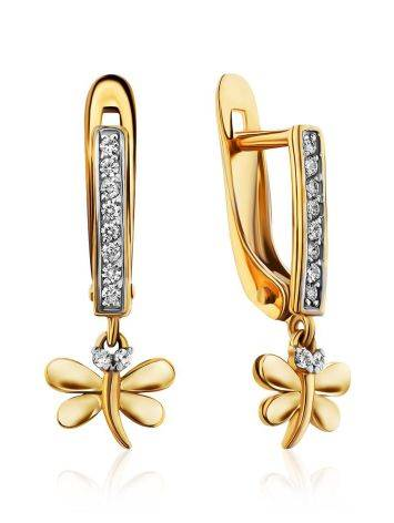 Cute Gold Crystal Dragonfly Earrings, image