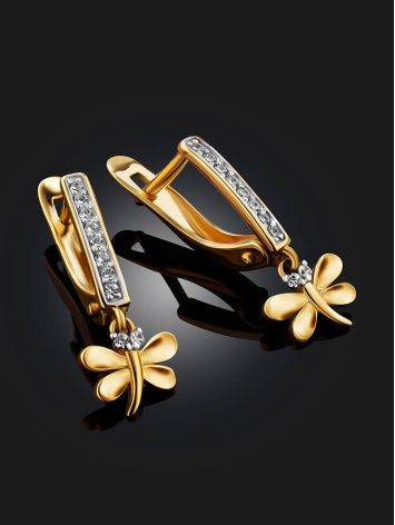 Cute Gold Crystal Dragonfly Earrings, image , picture 2
