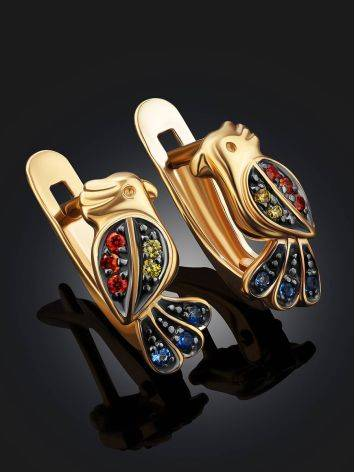Golden Bird Earrings With Multicolor Crystals, image , picture 2