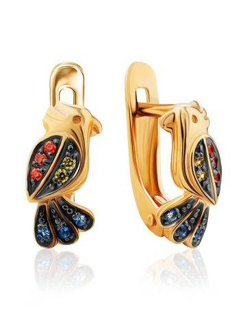 Golden Bird Earrings With Multicolor Crystals, image