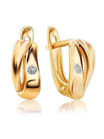 Glossy Gold Crystal Earrings, image