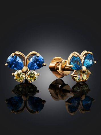 Cute Gold Crystal Butterfly Studs, image , picture 2