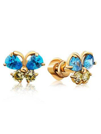 Cute Gold Crystal Butterfly Studs, image
