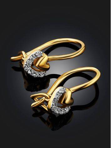 Cute Gold Crystal Heart Shaped Earrings, image , picture 2