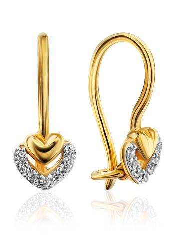 Cute Gold Crystal Heart Shaped Earrings, image