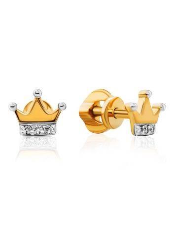 Tiny Golden Crown Studs, image
