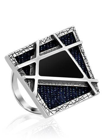 Geometric Design Silver Ring With Denim And Volcanic Glass, Ring Size: 9 / 19, image