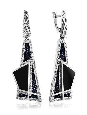 Bold Geometric Design Silver Dangles With Denim And Volcanic Glass, image