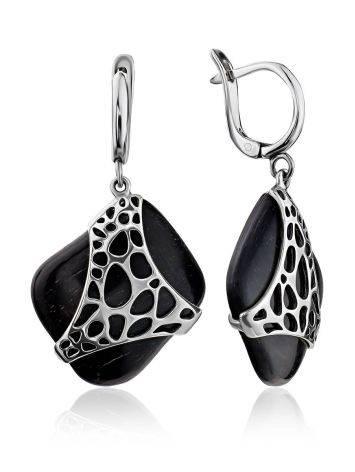 Designer Ebony Wood Dangle Earrings, image