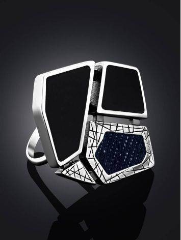 Bold Silver Ring With Volcanic Glass And Denim, Ring Size: 9.5 / 19.5, image , picture 2