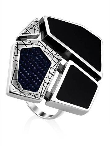 Bold Silver Ring With Volcanic Glass And Denim, Ring Size: 9.5 / 19.5, image