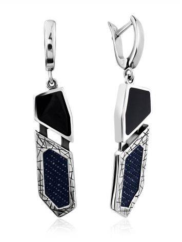 Geometric Silver Dangles With Synthetic Volcanic Glass And Denim, image