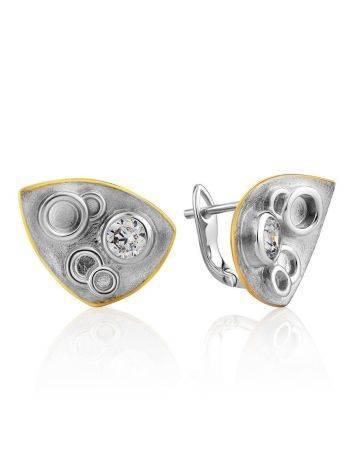 Stylish Silver Crystal Earrings, image