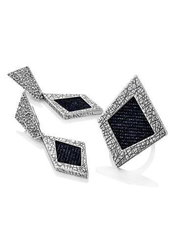 Bold Geometric Silver Ring With Denim Detail, Ring Size: 9.5 / 19.5, image , picture 5