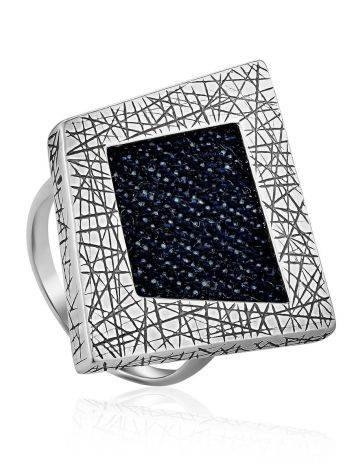Bold Geometric Silver Ring With Denim Detail, Ring Size: 9.5 / 19.5, image