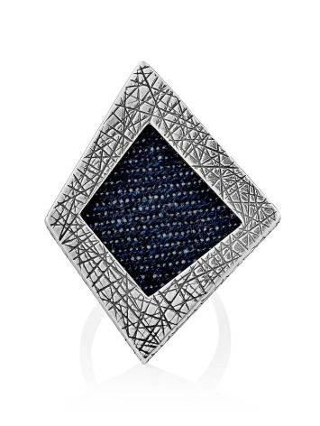 Bold Geometric Silver Ring With Denim Detail, Ring Size: 9.5 / 19.5, image , picture 4