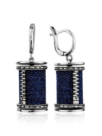 Spool Design Silver Denim Dangle Earrings, image