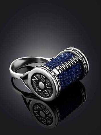 Spool Design Silver Denim Ring, Ring Size: 8 / 18, image , picture 2