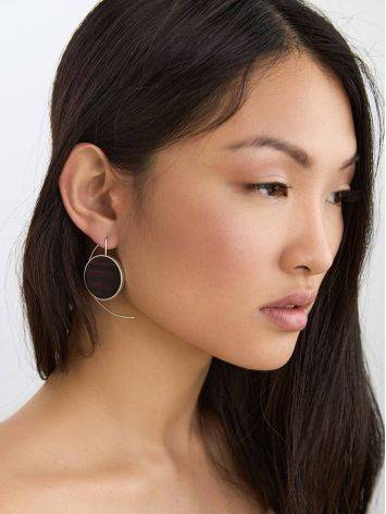 Geometric Silver Wooden Earrings, image , picture 3