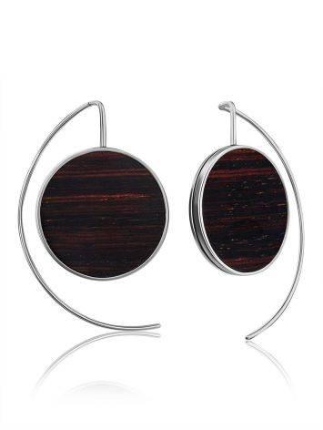 Geometric Silver Wooden Earrings, image