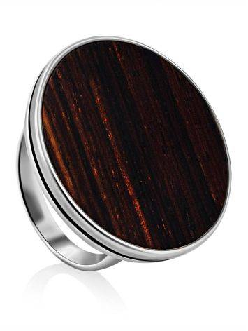 Geometric Design Silver Wooden Ring, Ring Size: 9.5 / 19.5, image